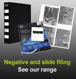 Storage pages and binders for photographic negatives and slides