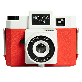 Holga 120N Roll Film Camera white/red