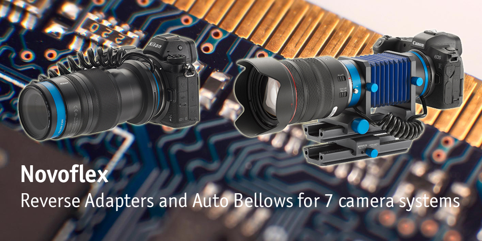 Novoflex launch auto bellows and reverse adapters for 7 camera systems