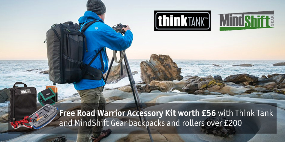 Free RoadWarrior accessory kit with selected Think Tank and MindShift Gear backpacks and rollers